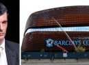 From left: Mikhail Prokhorov and the Barclays Center (credit: Nets Daily)