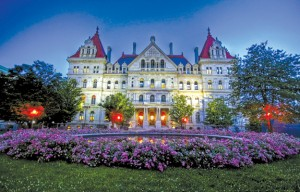 The capitol building in Albany, the hub of political activity in the state