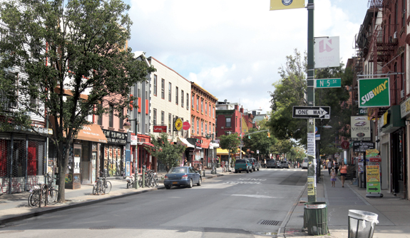The corner of Bedford Avenue and North 5th Street in Williamsburg