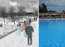 From left: a rendering of Wollman Rink and McCarren Park Pool (credit: Gothamist)