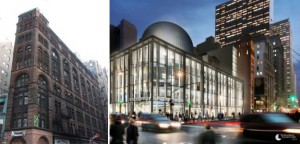 The Corbin Building and a rendering of Fulton Center