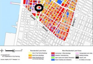A section of the Department of Buildings map with the Trump Soho circled in black. The key shows that the building is listed as a mixed residential and commercial building