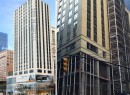 From left: a rendering of 180 Broadway and the structure under construction