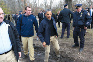 President Obama surveying damage on Staten Island shortly after the storm .