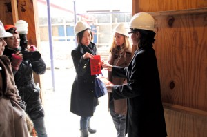 Feng shui consultant Laura Cerrano, right, collecting buyers' intentions at the Vista construction site last month