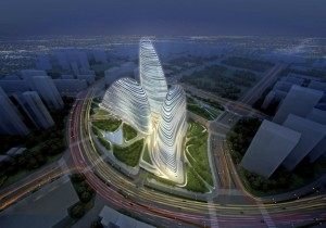 The Wangjing SOHO by Zaha Hadid Architects, which has been copied by a new Chinese development