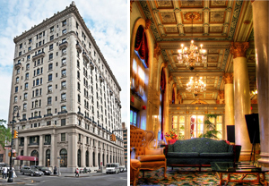 The exterior and interior of the Bossert Hotel