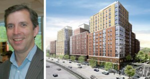 Gifford Miller, a partner at Signature Urban Properties, and a rendering of the Bronx development