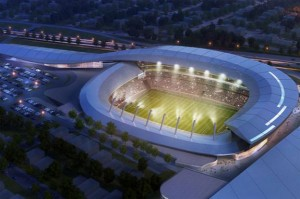A rendering of the stadium proposed by the New York Cosmos