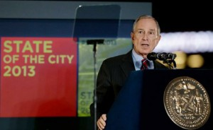 Mayor Michael Bloomberg delivering the 2013 State of the City address at Barclay's Center (Image courtesy of Frank Franklin II/Beaumont Enterprise)
