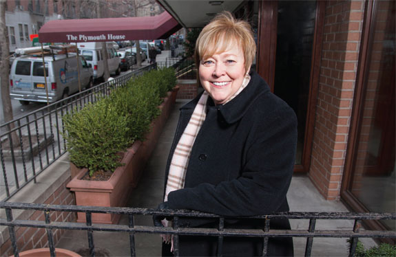 Bond New York's Margaret Garvey at the Plymouth House at 235 East 87th Street, where she found an off-market apartment for her clients