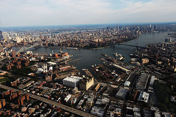 Aerial shot of the Brooklyn Navy Yard
