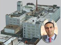 A rendering of the Eagle Electric building which is being converted into a 700-unit rental tower and Justin Elghanayan (inset)