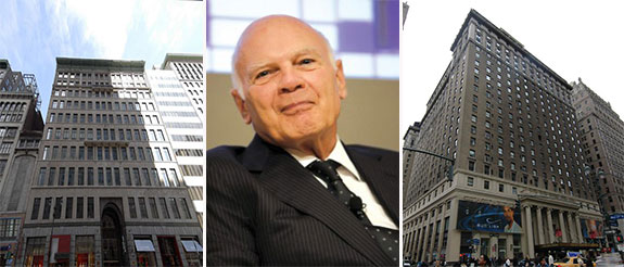 7 West 34th Street (left), Steven Roth (center) and the Hotel Pennsylvania (right) (credit: PropertyShark)