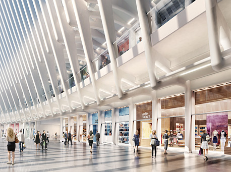 A rendering of the World Trade Center retail space