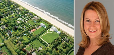 From left: An aerial shot of Hamptons estates and Danielle Becker-Wilson