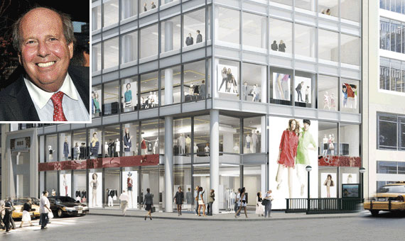 A rendering of the proposed new storefront at 853 Broadway and Jeffrey Feil (inset)