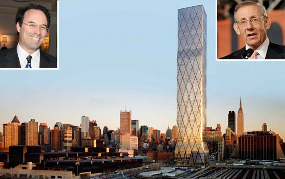 From left: Gary Barnett, a rendering of One Hudson Yards, and Stephen Ross