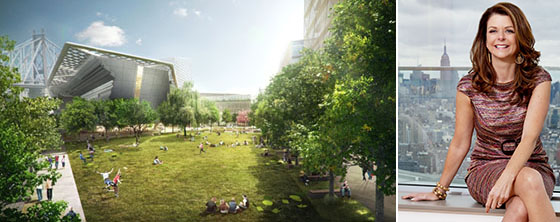 A rendering of Cornell NYC Tech and Forest City Ratner CEO MaryAnne Gilmartin