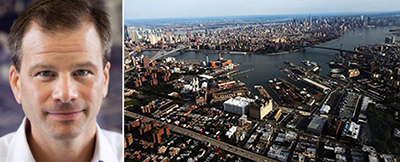 Andrew Kimball and an aerial view of the Brooklyn Navy Yard