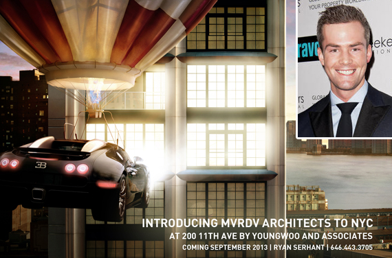 Ryan Serhant (inset) and a flyer for the West Chelsea penthouse