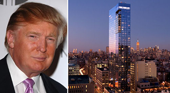 Donald Trump and the Trump Soho at center