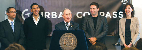 From left: Kyle Kimball, executive vice president and executive director of the New York City Economic Development Corporation;  Urban Compass co-founder Robert Reffkin; Mayor Michael Bloomberg; Urban Compass cofounder Ori Allon; and Rachel Haot, the city's chief digital officer.