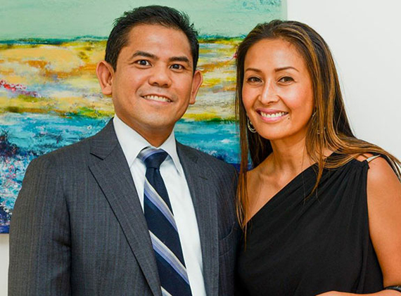 From left: Jerome Castillo, a resident at Strata at Mercedes House, and Samantha Edwards of Coldwell Banker AC Lawrence