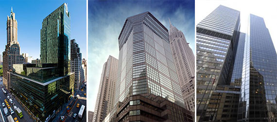 From left: 650 Madison Avenue, 425 Lexington Avenue and 499 Park Avenue