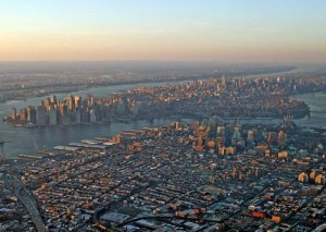 An aerial shot of Manhattan and Brooklyn
