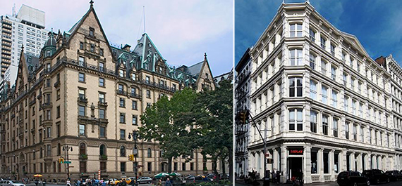 The landmarked Dakota and 9 Prince Street