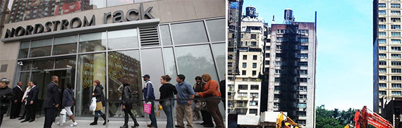 From left: Nordstrom's discount store at Union Square and the site at 225 West 57th Street