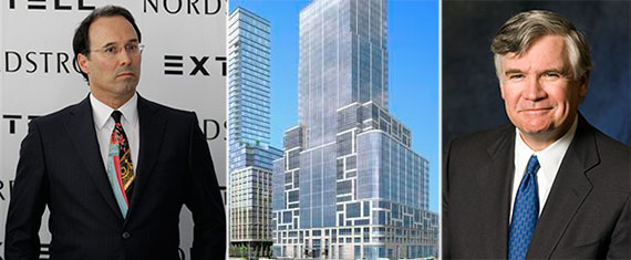 From left: Extell's Gary Barnett, 40 Riverside Blvd. rendering and Carlyle's William Conway Jr.