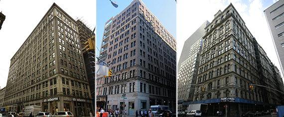 From left: 87-93 Worth Street, 350 Broadway and 346 Broadway
