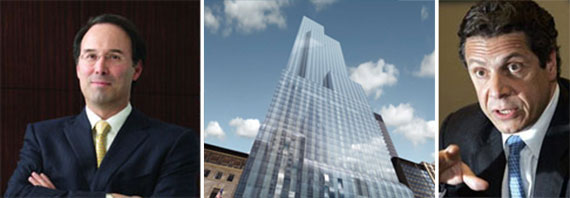 From left: Gary Barnett, a rendering of One57 and Gov. Andrew Cuomo