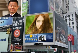 Billboards in Times Square and John Liu(inset)