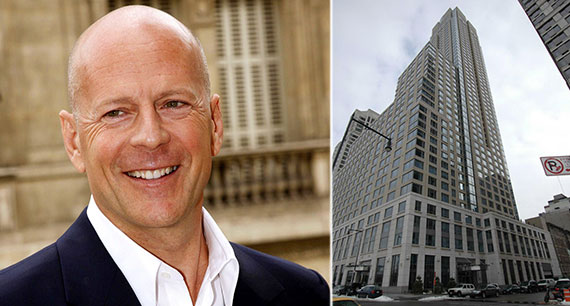 From left: Bruce Willis and 220 Riverside Boulevard