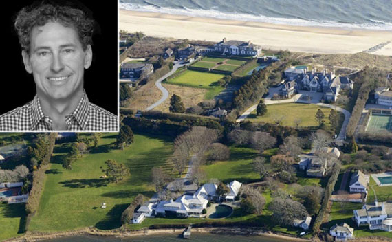 Brown Harris Stevens' Christopher Burnside (inset) and an aerial view of East Hampton