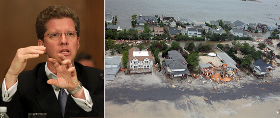 From left, HUD Secretary Sean Donovan, damage done to the Jersey Shore by Hurricane Sandy