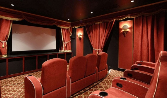 A home theater in a Hamptons house