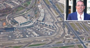 An aerial view of LaGuardia Airport and Joseph Sitt (inset)