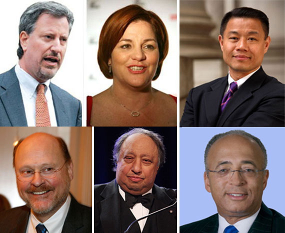 Clockwise from left: Bill de Blasio, Christine Quinn, John Liu, Bill Thompson, John Catsimatidis, Joe Lhota