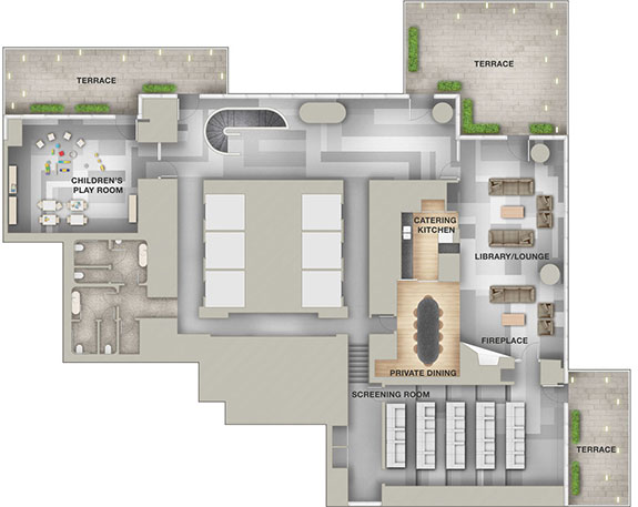Floor plan of 56 Leonard's amenity space