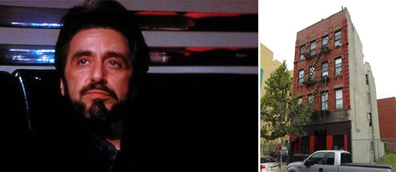 "From left: Al Pacino in ""Carlito's Way"" and 1672 Park Avenue in East Harlem"