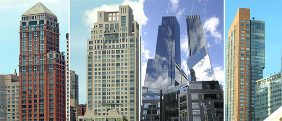 From left: Park Laurel at 15 West 63rd Street; 15 Central Park West; Time Warner Center at 25 Columbus Circle; and Millennium Tower at 101 West 67th Street (photo credits: CityRealty)