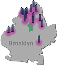 A map of hotel projects in the pipeline in Brooklyn