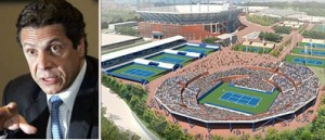 Gov. Andrew Cuomo and a rendering of the Billie Jean King National Tennis Center