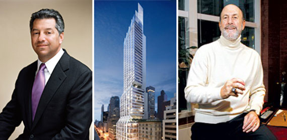 From left: Marc Holliday, a rendering of 425 Park Avenue and David Levinson