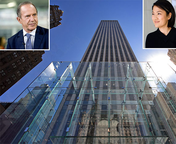 From left: Mort Zuckerman(inset), the GM Building and Zhang Xin (inset)