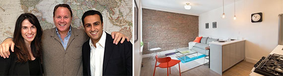 From left: G4′s Robyn Sorid, Louis Silverman and Jason Behfarin and a condo at 48 West 138th Street